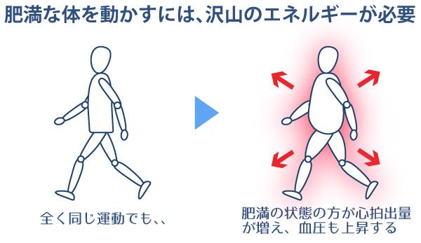 肥満の体を動かすには、沢山のエネルギーが必要